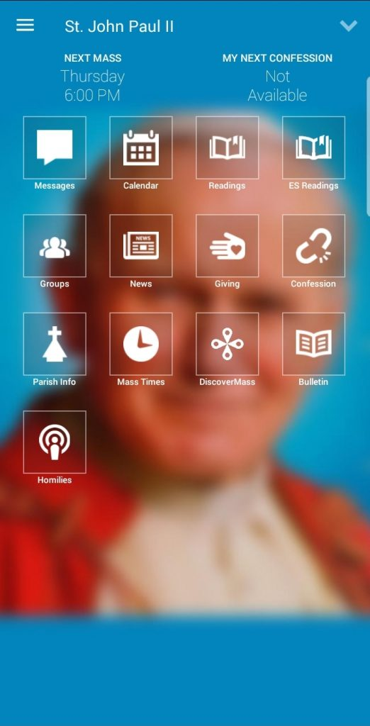 my Parish App Screenshot of Homescreen