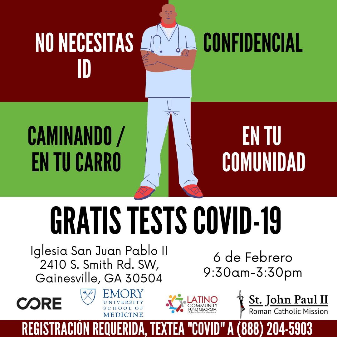 Pruebas COVID-19       Gratuitas